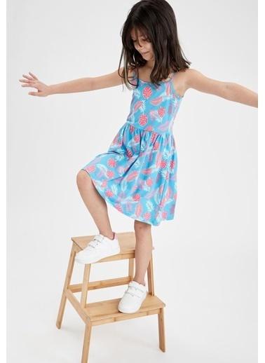 DeFacto Kız Çocuk Yaprak Desenli Askılı Elbise Mavi